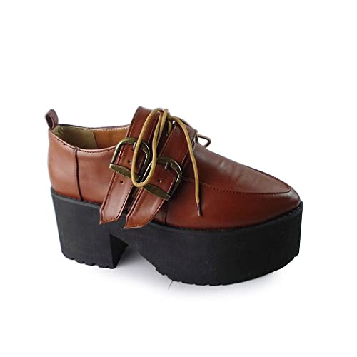 c99ee06730 Antaina Mid Heel Brown PU Pointed Toe Metal Buckle Retro Lolita Platform  Shoes,US 5.5