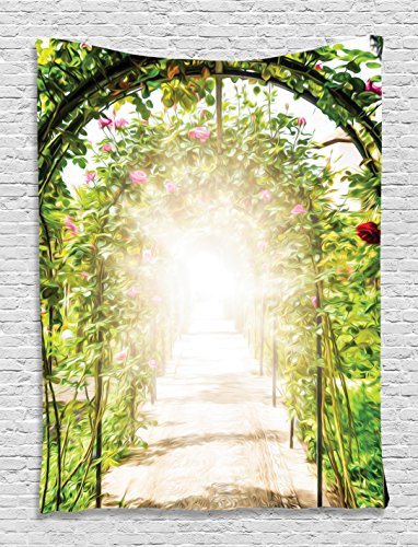 Botanic Garden Forest Tapestry Green Leaves Roses Magical Sunlight View Fairy Design Wall Decoration Art Satin Fabric Digital Printed Wall Hanging for Living Room Bedroom Dorm Decor, Blue Beige Pink (Roses Botanic)