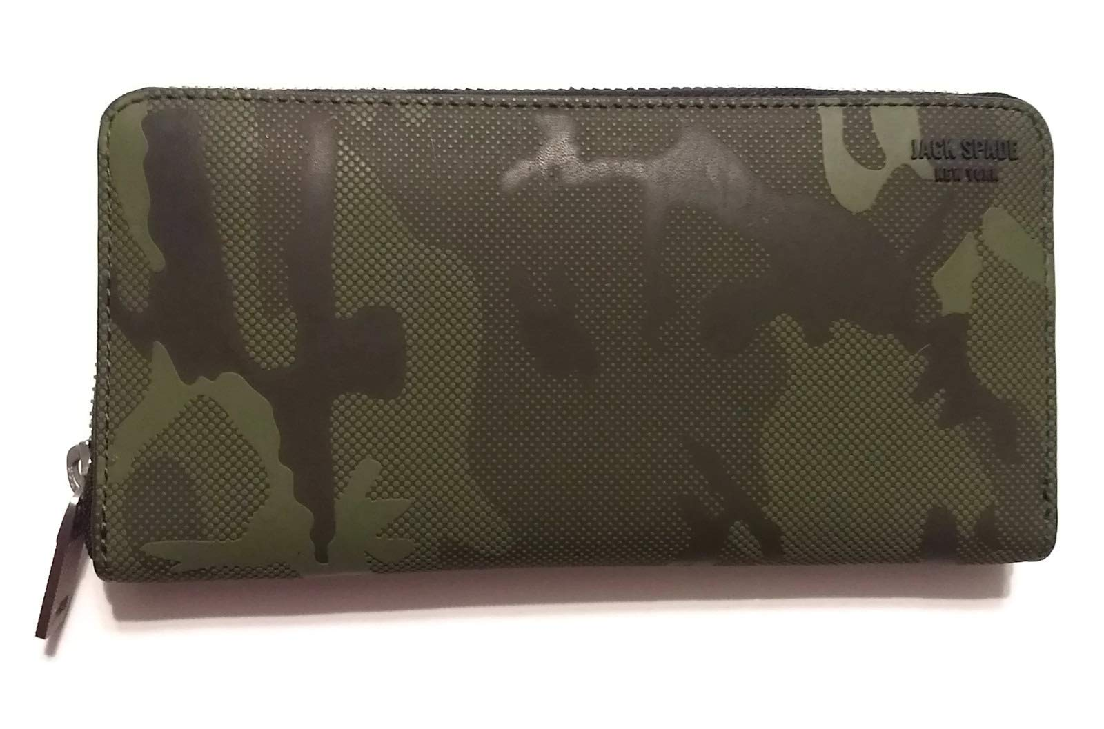Jack Spade Men's Camo Dots Lg Zip Around Wallet, Army Green, One SIze