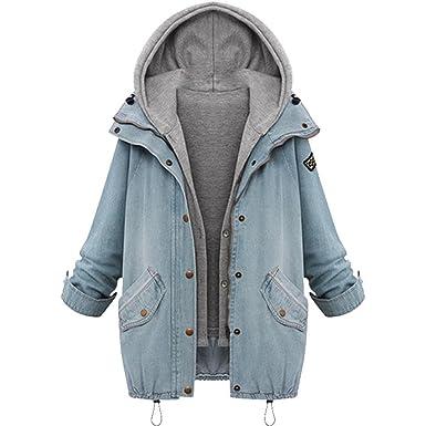 4ff55c9eb68d7 Kolylong Winter Women Warm Collar Hooded Denim Jacket