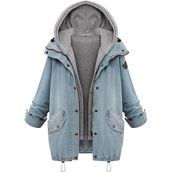 OVERDOSE Manteau Oversize Femme Hiver, Vestes Boyfriend en Jean Sweat à  Capuche Casual Hoodie Outwear 99aafe2da300