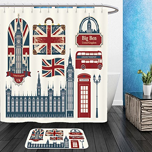 Vanfan Bathroom 2 Suits 1 Shower Curtains &  1 Floor Mats set of drawings on the theme of great britain and london 152919257 From Bath room