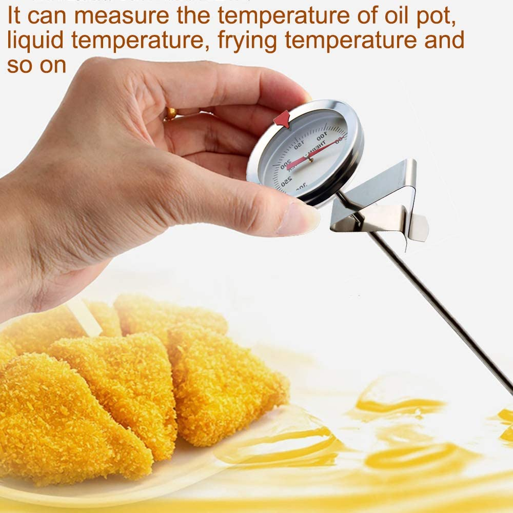 Frying Pan Thermometer High Temperature Oil Thermometer Food-Grade 304 Stainless Steel Candy Making Thermometer with Fixed Clip