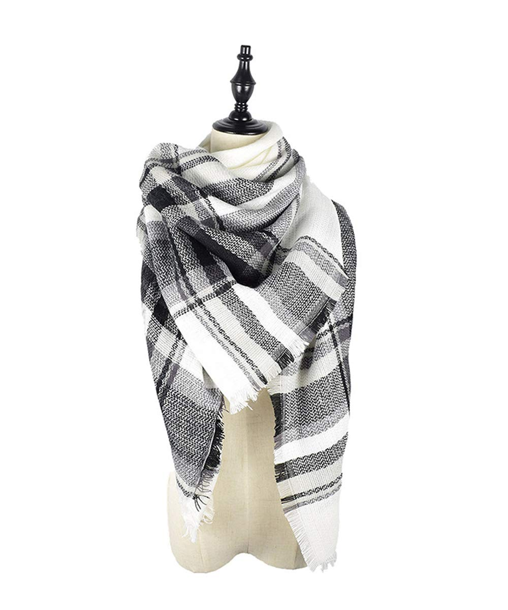 American Trends Soft Warm Plaid Scarf Shawl Cape Blanket Scarves Fashion Wrap Light Pink ATTFNS0114A03FS