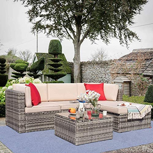 Tuoze 5 Pieces Patio Furniture Sectional Set Outdoor All Weather PE Rattan Wicker Lawn Conversation Sets Cushioned Sofa Set