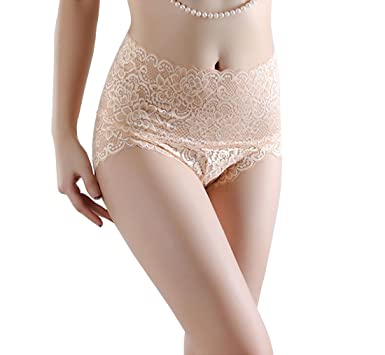 94702079feef Women's Hollow Out Lace Sexy Panties High Waist Underwear Briefs Beige Tag M