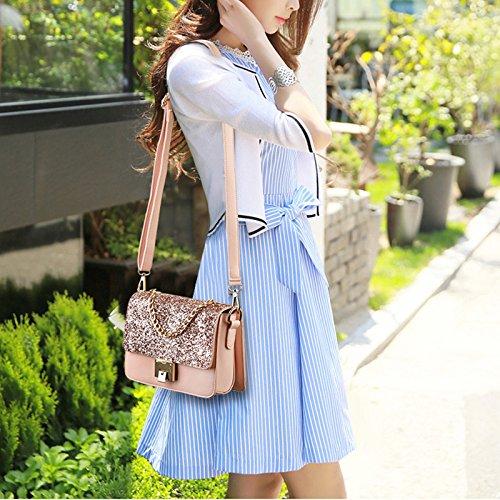 Blue Sequin Girl Sparkly Bag Exquisite Clutch Women Crossbody Shoulder Handbag Chain Tote BxqPTfg