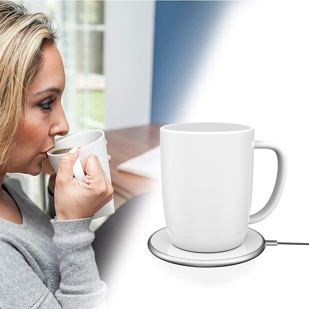 Seffel Temperature Control Porcelain Ceramic Mug 12 oz With Wireless Mug Warmer/Phone Charger - Elegant | Durable | Lightweight - Home or Office Use - For the Perfect Hot Cup of Coffee - Black by Seffel Mugs