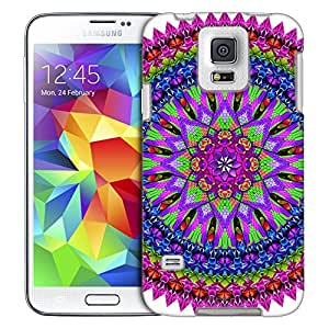 Samsung Galaxy S5 Case, Slim Fit Snap On Cover by Trek Mandala Neon Bird Feathers on White Trans Case