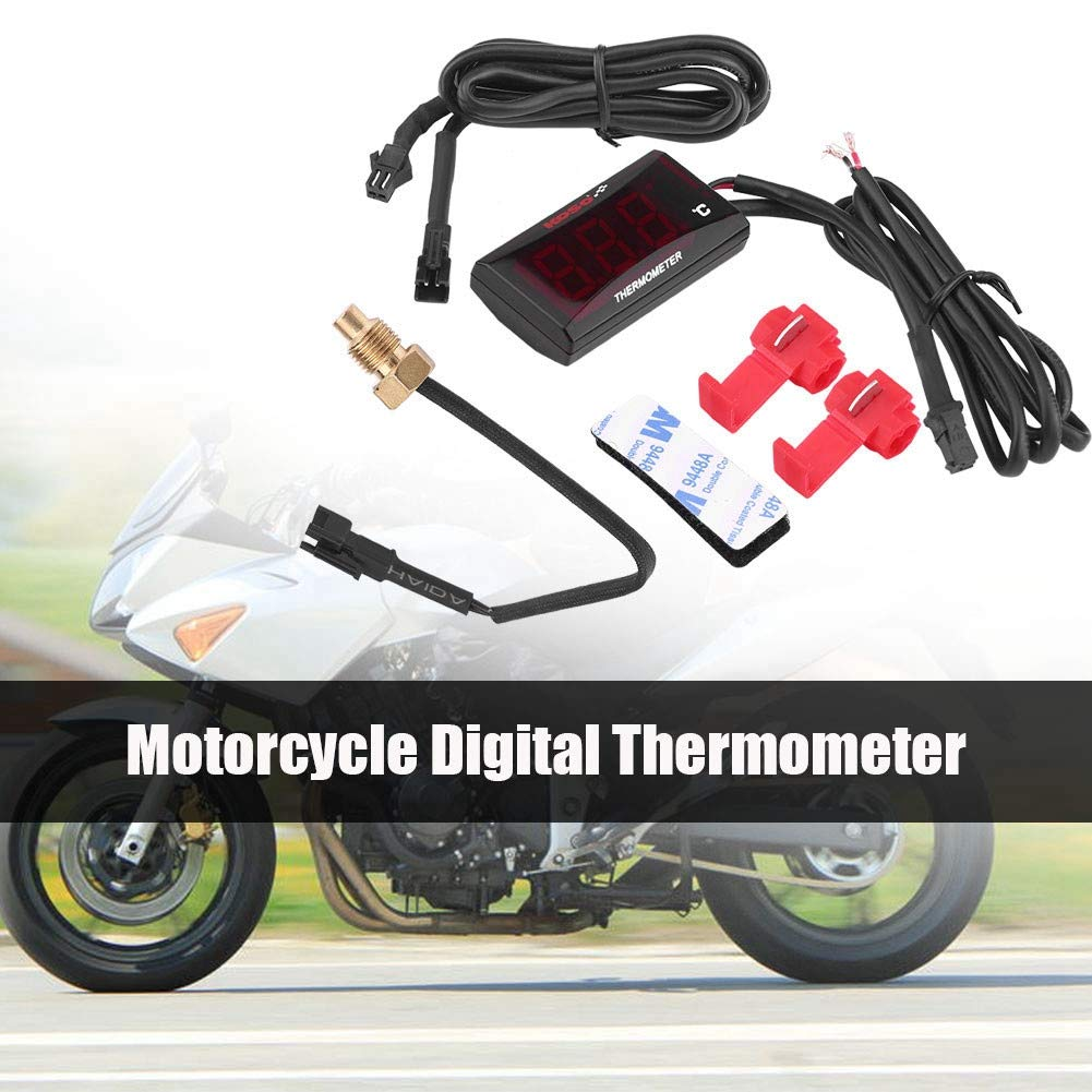 Motorcycle Water Meter, DC 12V 0-120℃ Red LED Backlight Digital Motorbike Thermometer for Honda Yamaha KTM (Red LED)