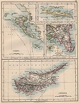 Carte Chypre Crete.Athenes Grec Iles Crete Corfou Chypre Candie Grece