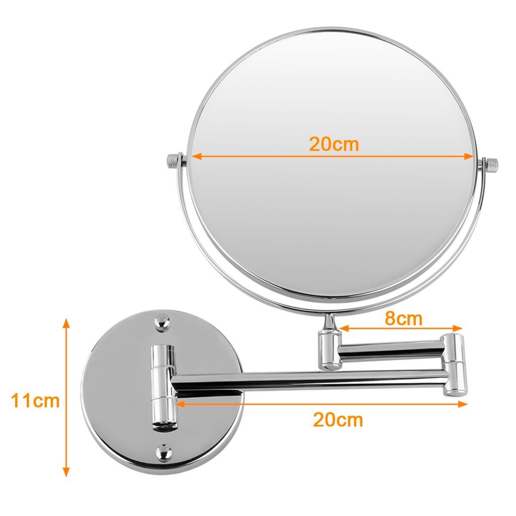 Excelvan 8 Inch Double-Sided Swivel Wall Mount Makeup Mirror, 12 Inch Extension, Polished Chrome Finished 7x Magnification