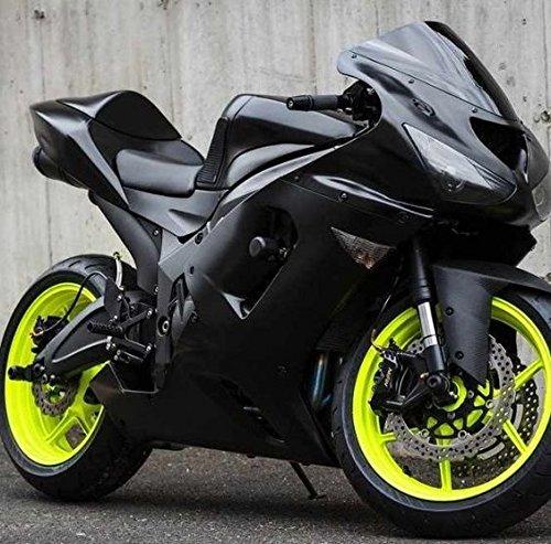 Moto Onfire ABS Injection Plastic Fairings Kits Fit for Kawasaki Ninja ZX6R 636 2007 2008 (Black)