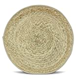 Woven Round Table Placemats Handmade 15' Place Mats Set of 4 Pack Farmhouse Rustic Boho for Kitchen Tables Rattan Wicker Wood Tablemats Natural Large Placemat Art (Hand Braided)