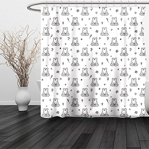 HAIXIA Shower Curtain Yoga Doodle Style Drawn Bear in Lotus Position with Floral Pattern Forest Creatures Love Black White