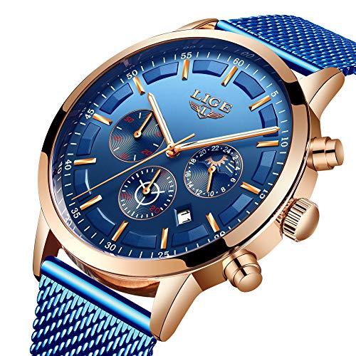 Mens Black Watch Fashion Casual Waterproof Luxury Brand LIGE Watch Stainless Steel Quartz Multi-Function Chronograph Watch Date Display Luminous Watch ... (Best Mens Luxury Watches 2019)