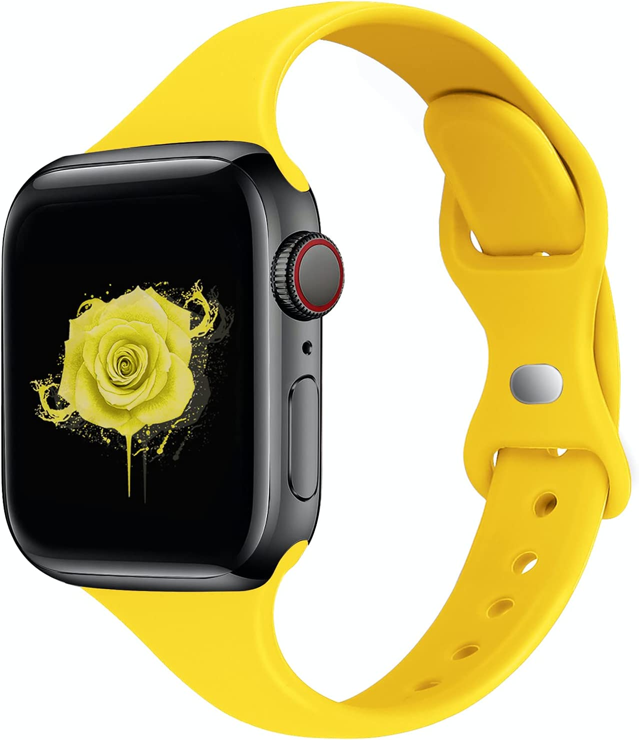 STG Sport Band Compatible with Apple Watch 38mm 40mm 42mm 44mm, Soft Silicone Slim Thin Narrow Replacement Strap Compatible for iWatch SE Series 6/5/4/3/2/1 (Yellow, 38/40mm)