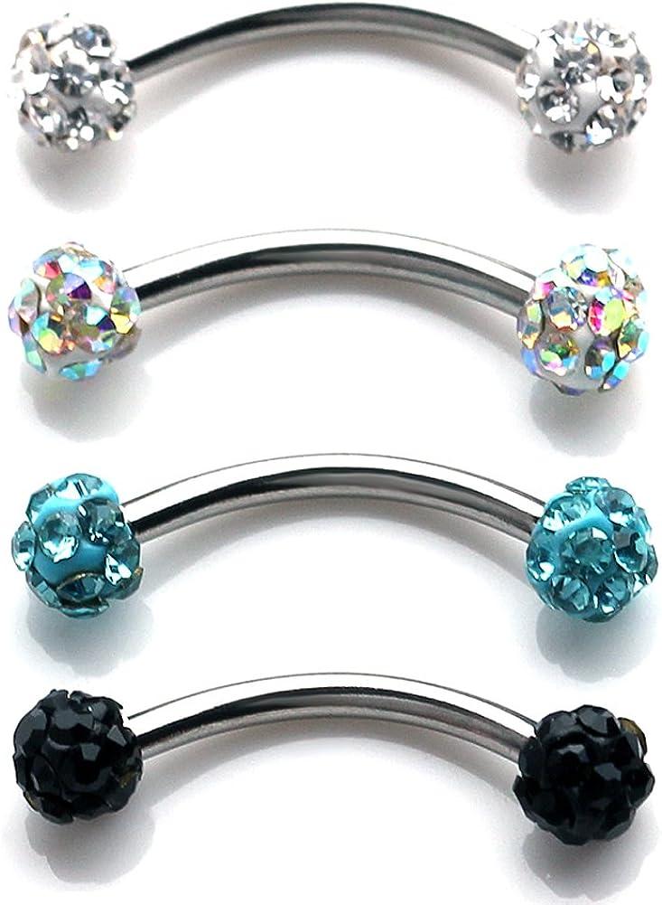 Ruifan 16G Crystal Ferido Ball Curved Barbell Eyebrow Ear Ring Body Piercing Jewelry 8mm 10mm