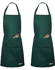Viedouce 2 Pack Tabliers de Cuisine Etanche,Noir Tablier Réglable avec Poches pour Cuisine Familial,Restaurant,Jardin,Barbecue,école,Café,Tablier pour Chef,Boulanger,Serveurs,Serveuse