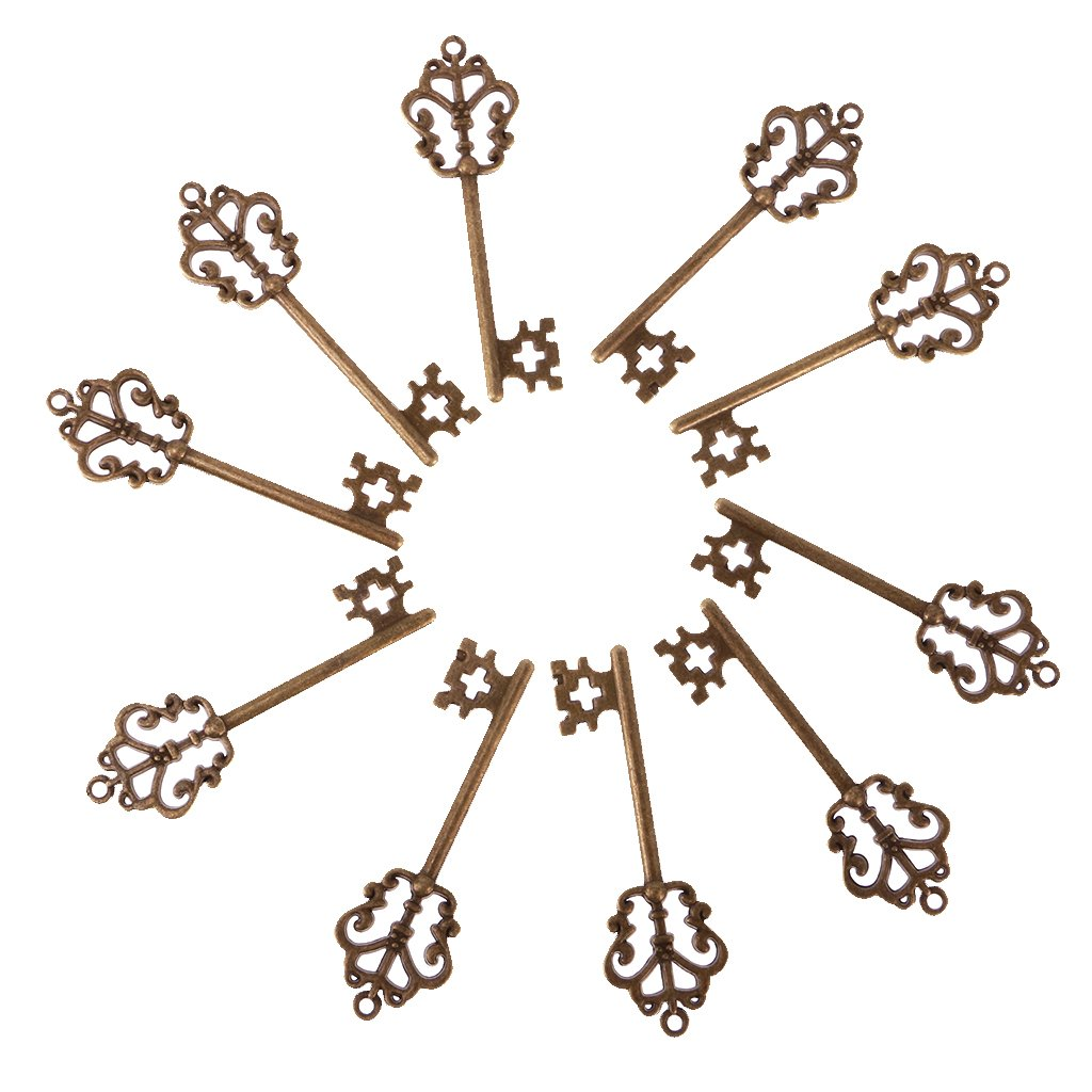 Jili Online 10 Pieces Vintage Style Key Shaped Bottle Opener Wedding Favors Silver/Bronze - 1# Bronze