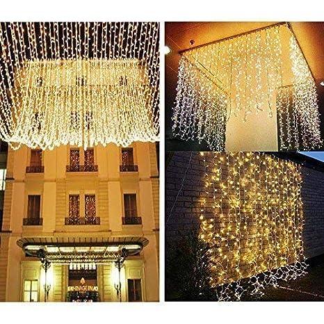 Knonew Cortina de luz de 300 LEDs 3m x 3 m Blanco cálido Perfecto para la decoración de ventanas, bares, patios, entradas de edificios, San Valentín, ...