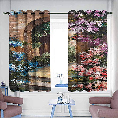Thermal Curtains Flower Brush Stroke Effect Meadow Decor Curtains by W55 xL72 Suitable for Bedroom,Living,Room,Study, etc.