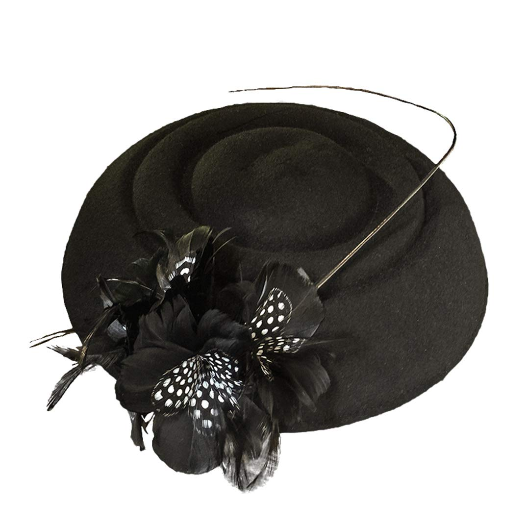 Women Fascinators Weddings Pillbox Hat Vintage Church Cocktail Hats Black