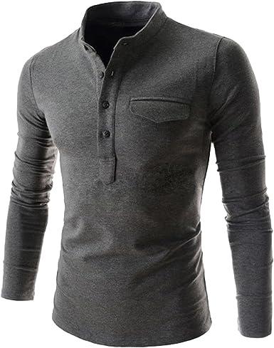 Camisa de manga larga para hombre, con cuello de botones, estilo informal; de HDH Gris gris oscuro Medium: Amazon.es: Ropa y accesorios