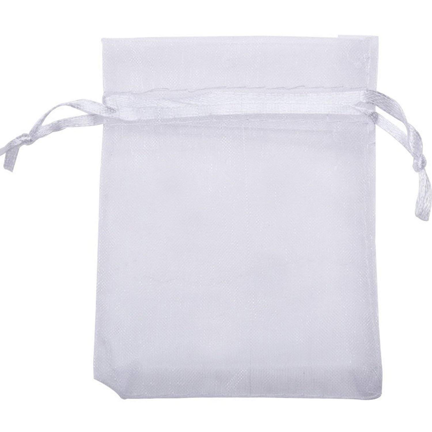 Mudder Organza Gift Bags Wedding Favour Bags Jewelry Pouches, Pack of 100 (2.8 x 3.5 Inch, White)