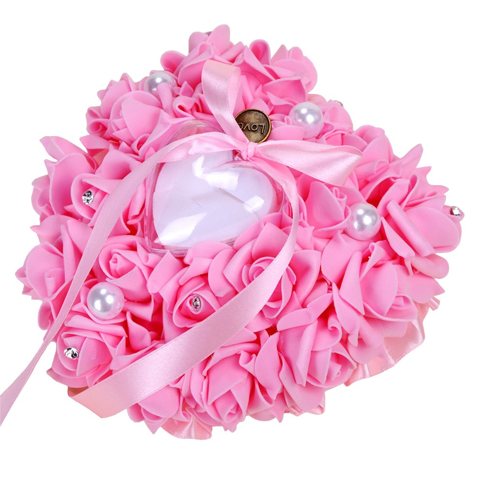 Amazon.com: ZYLLGF Wedding Heart Ring Box Ring Holder with Pearl ...
