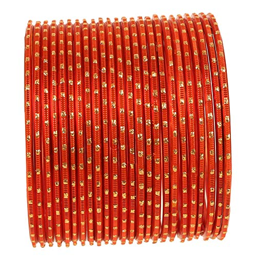 Touchstone New Colorful 2 Dozen Bangle Collection Indian Bollywood Alloy Metal Textured Light Orange Designer Jewelry Special Large Size Bangle Bracelets Set of 24 in Antique Gold Tone for Women