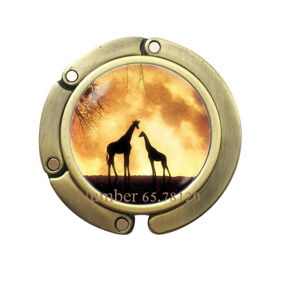 Giraffes Purse Hook Full Moon Bag Hook Giraffes Bag Hook Africa Moon Jewelry Moon Bag Hook Gift Ideas Lunar Giraffe Jewelry,BV156 V3