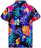 King Kameha Funky Hawaiian Shirt, Shortsleeve, Pineapple, Black Blue, XL