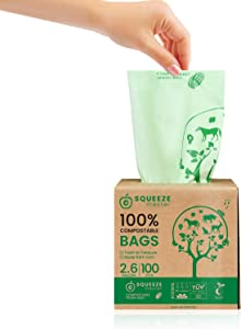 Compostable Trash Bags 100% , 2.6Gallon/ 9.8 Liter-100 Counts,Heavy Duty for Food Kitchen Waste Bags,Extra Thick & Stretchable,Green