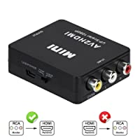 RCA to HDMI, AV to HDMI, 3RCA AV CVBs Composite Audio Video PAL/ NTSC with USB Charge Cable to 1080P HDMI Converter Adapter for PC Laptop Xbox PS4 PS3 TV STB VHS VCR Camera DVD Etc