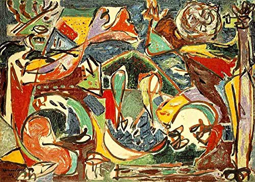 Neron Art Jackson Pollock The Key, 1946 - Original Abstract Canvas Paintings Hand Painted Reproduction Rolled - 120X80 cm (Approx. 48X32 inch) for Wall Decoration (Vintage Original Oil Painting)