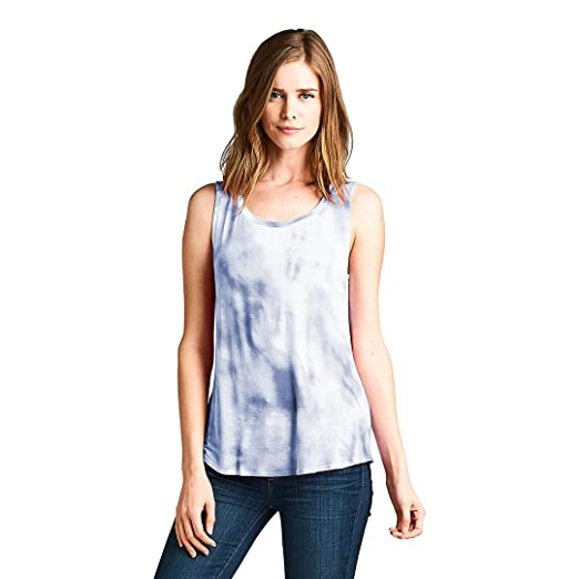 7bcc257a35 TRESICS LUXE Women's Scoop Neck Tie Dye Sleeveless Loose High Low Tank Tops  Blouse T Shirts(Blue, M) at Amazon Women's Clothing store: