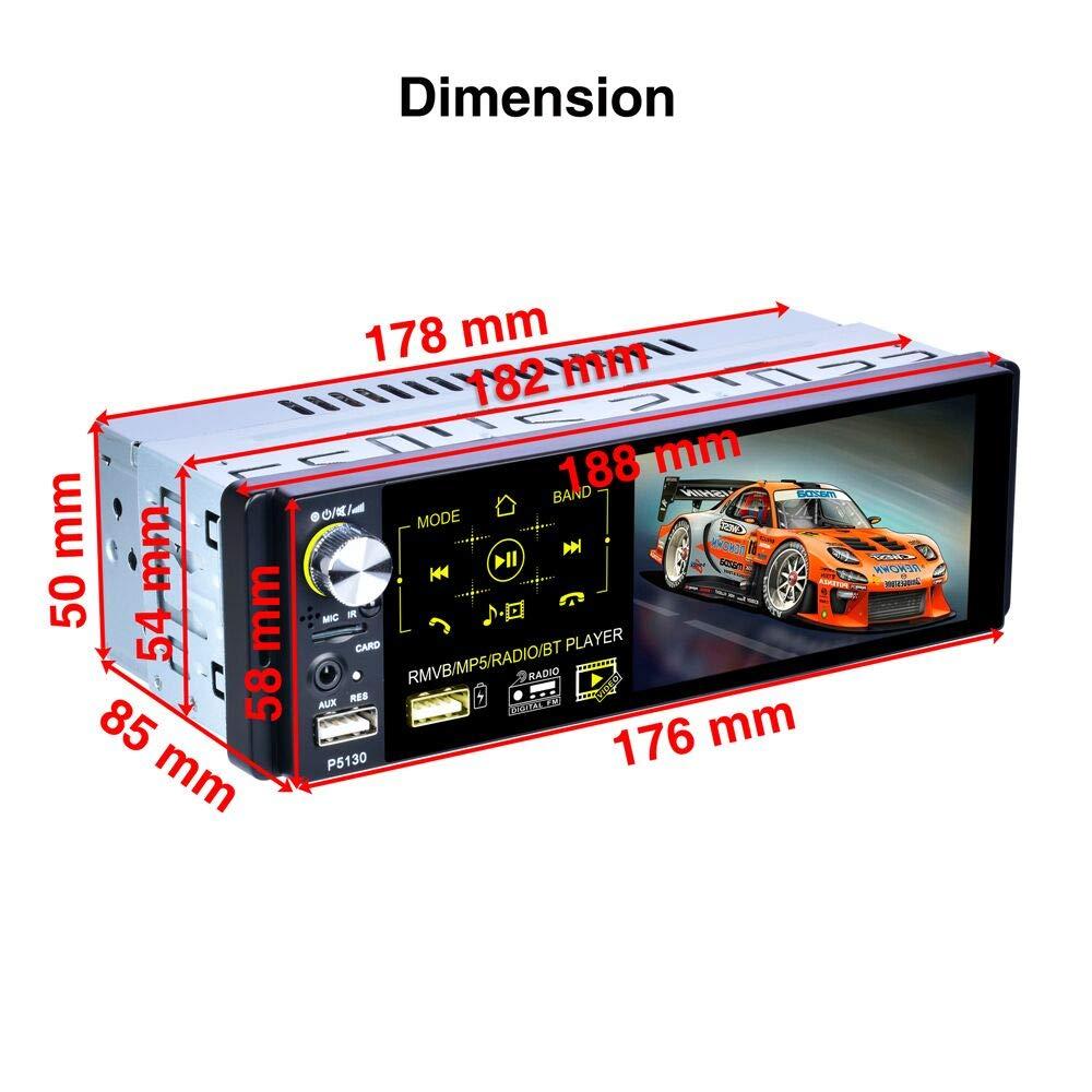 Control del Volante Camecho Bluetooth Car Radio 4  Pantalla t/áctil capacitiva 1 DIN C/ámara de Respaldo Est/éreo FM//Am//RDS Radio con Doble Puerto USB//AUX-in//SD Puerto
