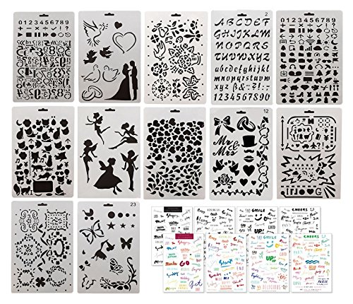 (Drawing Painting Bullet Journal Stencils Template 12 Pcs and Adhesive Stencil Beautiful Words 8 Pcs for Children Creation Scrapbooking DIY Albums Craft Projects)