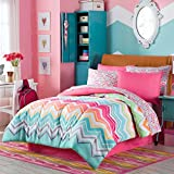 Happy Chevron Rainbow Girls Teen Comforter + Sham + 100% COTTON Sheet Set + Bedskirt and Home Style Brand Sleep Mask (Piece Bedding Bundle) (Twin)