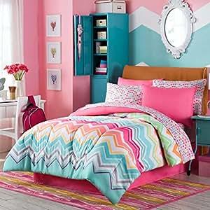 Amazon Com Happy Chevron Rainbow Girls Teen Comforter