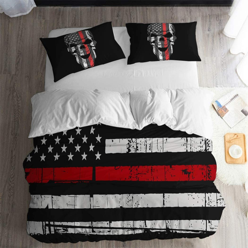 American Flag Bedding Set Queen Size 3PC Red Black Stripe Duvet Cover Fourth of July Independence Day Retro Stripe Decor USA Flag Quilt Cover Red Black USA Flag Comforter Cover(2 Skull Pillow Cases)