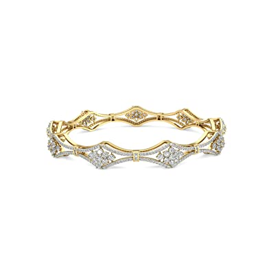 PC Jeweller The Lucrezia 18KT Yellow Gold & Diamond Bangle Women's Bangles at amazon