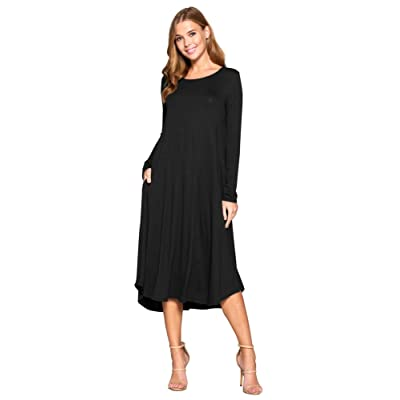 12 AMI Long Sleeve Solid Round Neck Loose Midi Pocket Flowy Dress (S-XXXL) at Amazon Women's Clothing store