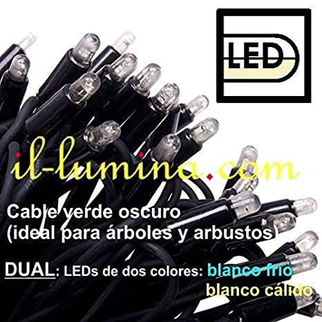Prilux - Led string plus 12m 180 dual blanco con verde: Amazon.es: Iluminación