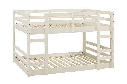 Offex Low Wood Twin Bunk Bed White Kitchen