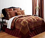 4pc Ninepatch Star Quilted Queen Quilt Bedding Set 2 Shams 1 Star Pillow 4 Piece Set (Queen)