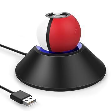 HEYSTOP Soporte de Carga para Pokeball Plus, Soporte de Carga con USB Cargador Cable Cable Estación de Carga para Nintendo Switch Pokémon Lets go ...
