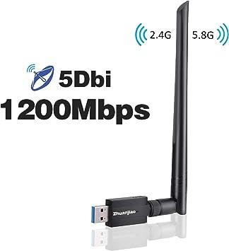 Zhuanjiao Adaptador WiFi USB,Receptor WiFi USB 1200Mpbs 3.0 Dual Band Antena WiFi Wireless 5dBi (5GHz 866Mbps / 2.4GHz 300Mbps) 802.11ac Dongle WiFi ...