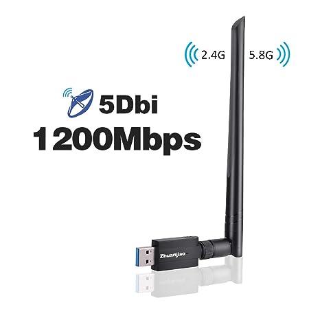 Zhuanjiao Adaptador WiFi USB,Wireless WiFi USB 3.0 Dual Band (5GHz 866Mbps / 2.4
